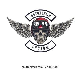 Vector illustration Vintage motorcycle Monochrome skull and wing in helmet . t-shirt graphics. Biker t-shirt. Motorcycle emblem.