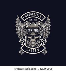 Vector illustration Vintage motorcycle Monochrome skull, motorcycle engines and wing in helmet . t-shirt graphics. Biker t-shirt. Motorcycle emblem.
