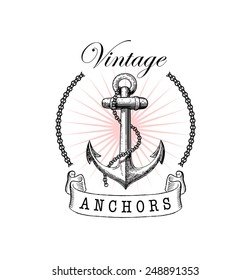 Vector illustration of vintage nautical label. Nautical anchor. Symbol of sailors, sail, cruise and sea. Travel design. Icon and design element.