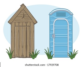 vector illustration of a vintage outhouse and a porta-potty