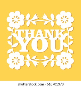 A vector illustration of vintage paper cut retro floral thank you phrase lace decoration. The lace is white and it is on a yellow background.