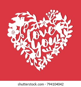 A vector illustration of a vintage paper cut silhouette love story floral wreath.