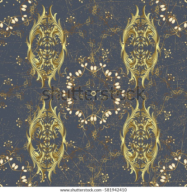 Vector illustration. Vintage pattern on a gray background with golden elements.
