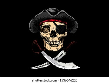 Vector illustration of  Vintage pirate flag, Jolly Roger.