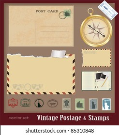 Vector illustration .Vintage postage and stamps
