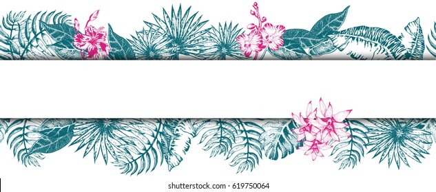 Vector Illustration of Vintage poster Print. Summer on beach. Tropical sketch seamless pattern