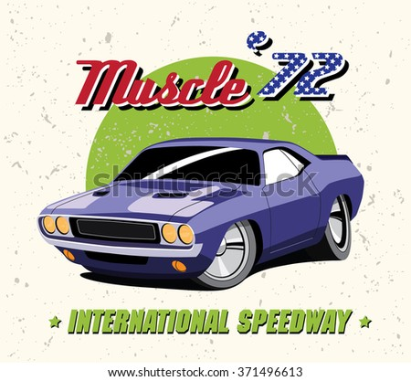 Vector Illustration Vintage Purple Muscle Car Stock Vector Royalty