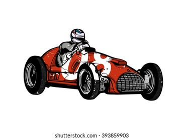 Vector illustration - Vintage race car for printing