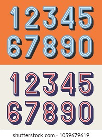 Vector illustration of vintage relief numbers typeface