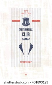 Vector illustration of vintage retro gentleman's club andl design elements