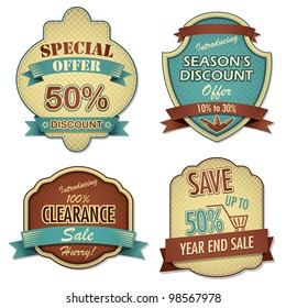 vector illustration of vintage sale and discount label
