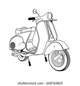 Vector illustration of vintage scooter. Emblems and label. Scooter popular means of transport in a modern city. Advertisements, brochures, business templates. Isolated on a white background