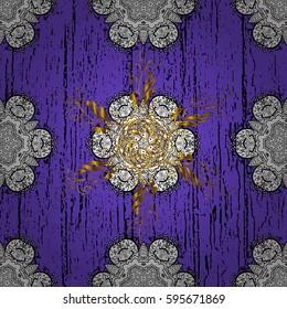 Vector illustration. Vintage seamless pattern on a violet background with golden elements.