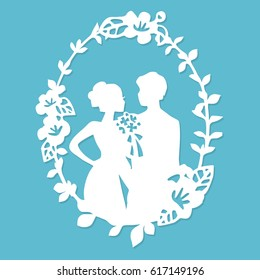 A vector illustration of vintage silhouette wedding groom bride wreath frame in paper cut style.