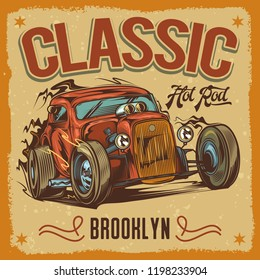 Vector illustration in vintage style. American hot rod