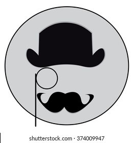 Vector illustration vintage style, bowler and monocle and mustache