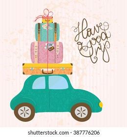 vector illustration. vintage suitcases on a retro car. have a good trip