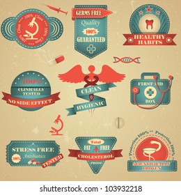 vector illustration of vintage tag for healthcare and medicine