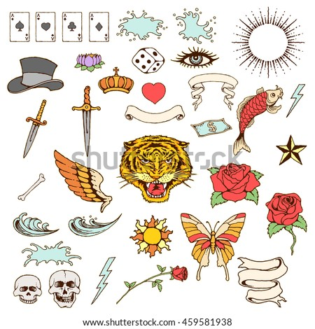 vector illustration vintage tattoo objects stock vector royalty