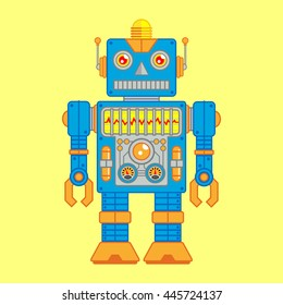 Vector Illustration of Vintage Toy Robot colored Blue and Orange