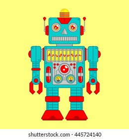 Vector Illustration of Vintage Toy Robot colored Blue and Red