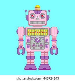 Vector Illustration of Vintage Toy Robot colored Pink and Purple