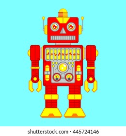 Vector Illustration of Vintage Toy Robot colored Red and Yellow