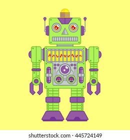 Vector Illustration of Vintage Toy Robot colored Green and Purple