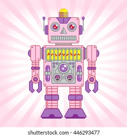 Vector Illustration of Vintage Toy Robot, Pink and Purple Robot