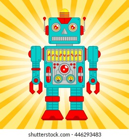 Vector Illustration of Vintage Toy Robot, Blue and Red Robot