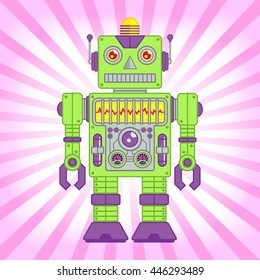 Vector Illustration of Vintage Toy Robot, Green and Purple Robot