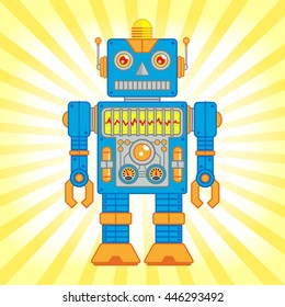 Vector Illustration of Vintage Toy Robot, Blue and Orange Robot