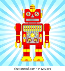 Vector Illustration of Vintage Toy Robot, Red and Yellow Robot