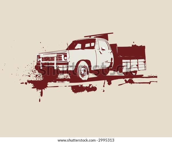 vector   illustration of vintage  truck . Grunge style.