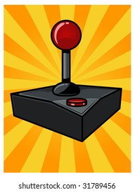 vector illustration of a vintage video game controller...background contained in clipping mask