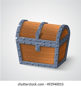 vector illustration of vintage wooden chest with closed cover.