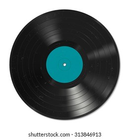 Vector illustration of a vinyl record with dust on the surface.