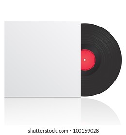 Vector illustration of vinyl record in envelope with space for your text
