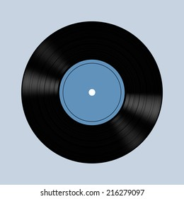 Vector illustration of vinyl record. Isolated on gray background. EPS 10.