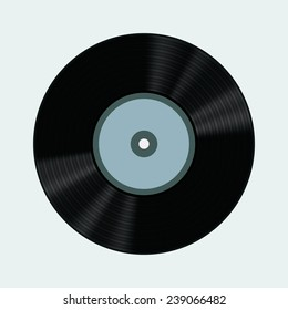 Vector illustration of vinyl record. Isolated on light background. EPS 10.