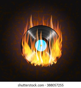 vector illustration of a vinyl record on fire on a background of musical notes on a dark background can be applied to any image with black or used separately.