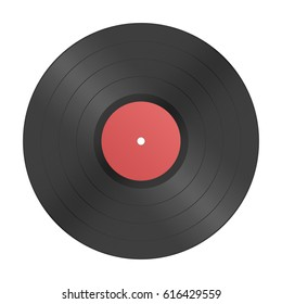 Vector illustration of a vinyl record in realistic retro design style. Black musical long play album icon isolated on white background. Vintage sound carrier. Audio classic plastic disc. EPS 10.
