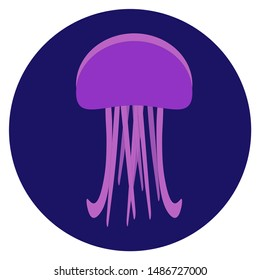 Vector illustration of violet jellyfish