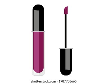 Vector illustration of violet lip gloss and a brush next to it for application. Isolated on white background