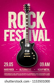 vector illustration violet rock festival concert party flyer or posterdesign template with guitar, place for text and cool effects in the background