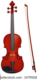 Vector illustration - vector violin with the fiddle stick. Created with gradient mesh.