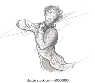 Vector illustration of violin player