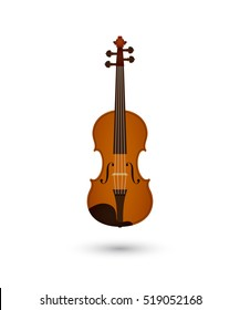Vector illustration of violin with shadow on white background. Element for design. White, brown, black, grey colors. Vector image for musical theme.