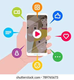 Vector illustration of the Viral Content. Likes, shares and comments popping up on the mobile screen. Video content for millennials.