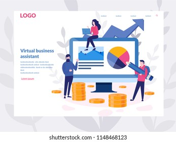 vector illustration of virtual business assistant. for web page, banner, presentation, social media, documents, cards, posters.graphic design business concept mobile assistant, mobile banking.